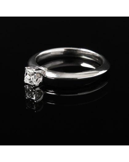 Balto aukso sužadėtuvių žiedas  Deimantu