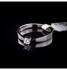 Balto aukso sužadėtuvių žiedas su Deimantu