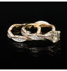 Geltono aukso žiedai su Deimantais
